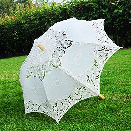 kicode romántico mujeres Ladies Vintage hecho a mano sombrilla de encaje de algodón paraguas para boda
