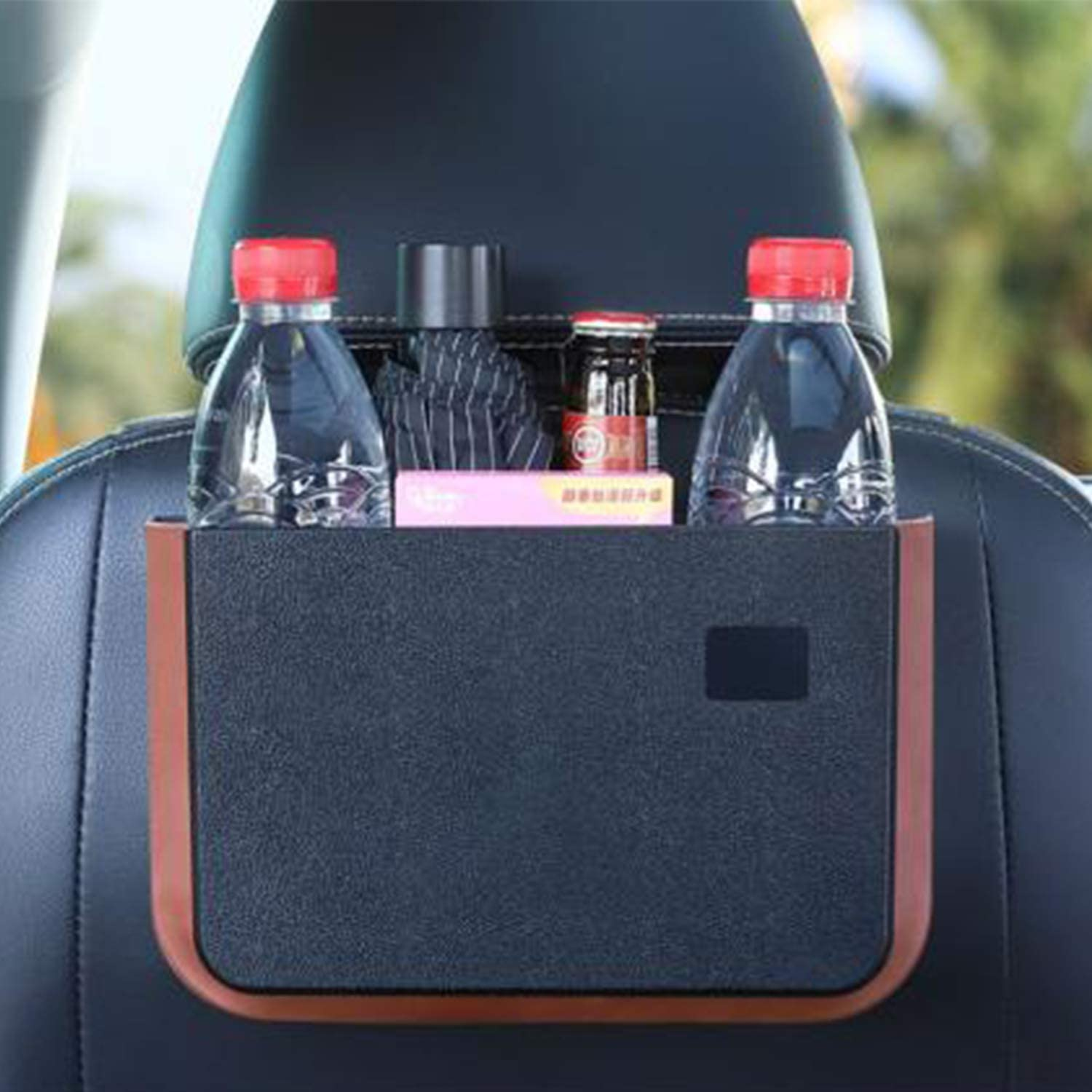 Kowenz CAR Headrest Organizer for Back Seat, Use for Cup Holder, Food Tray and Car Trash bin, Push in and Out Function for Space Saving, Universal Fitment SUV, Sedan, Car, Hatchback