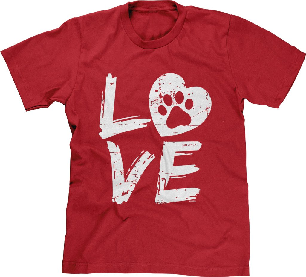 Blittzen Mens Love Paw Print in Heart, 2XL, Red