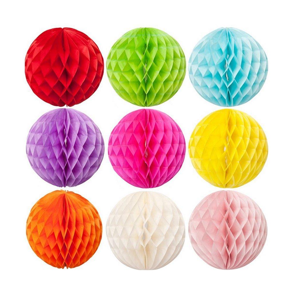 Fuchsia Boules Papier Nid Dabeille Lanternes Pliable 30cm D/écor de F/ête Mariage Multicouleurs