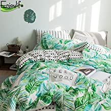 Enjoylife 100% Pure Cotton Reversible 3PCS Bedding Set for Spring/Summer Printing Flowers Leaves Duvet Cover Super Soft Girls/Boys Teens Adults 01-Leaves Quilt Cover Queen Size