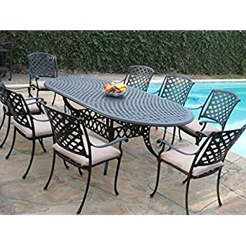High Quality Cast Aluminum Outdoor Patio Furniture 9 Piece Expandable Dining Set  DS 09KLSS260180T