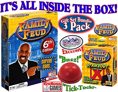 Feud 6th Edition Set Bundle Includes Strikeout Card Game, Electronic Red 3-Mode Game Answer Buzzer and Count Down Timer ()