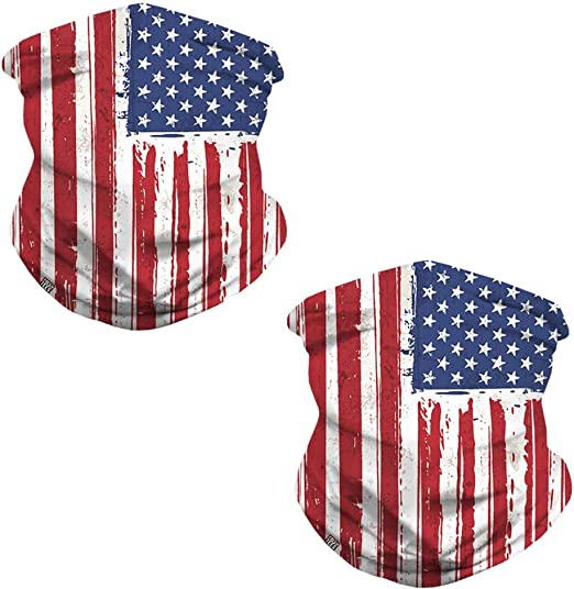 fresh tees 2 Pack American Flag Face Mask,Neck Gaiter, Balaclava,Seamless