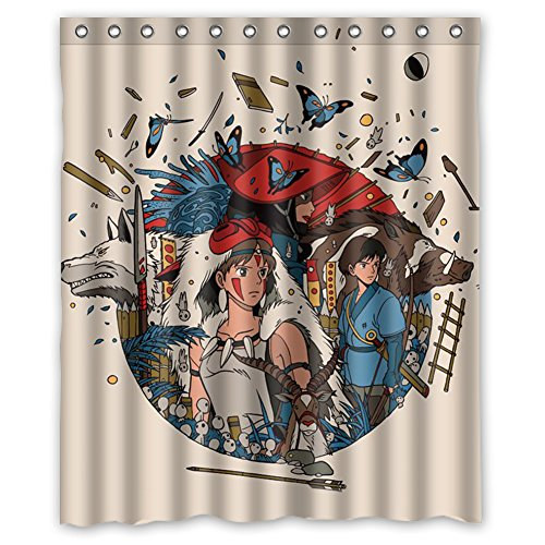 [MOLD & MILDEW RESISTANT & Halloween Costume Personalized Custome Princess Mononoke Waterproof Polyester Fabric Bathroom Shower Curtain 60