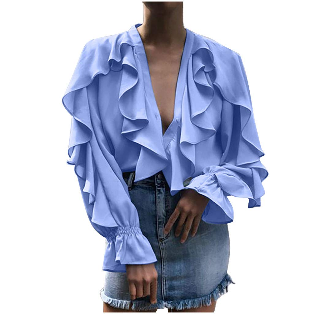 HENWERD Womens V-Neck Long Sleeve Blouse Casual Ruffles Solid Chiffon Shirt Tops (Blue,M)