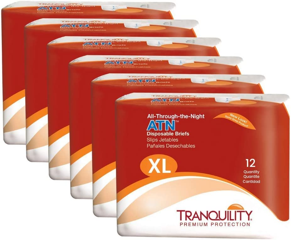 """Tranquility ATN Adult Disposable Incontinence Briefs, Refastenable Tabs, with All-Through-The-Night Protection, XL (56""""-44"""") - 72 ct (6 Packs of 12)"""