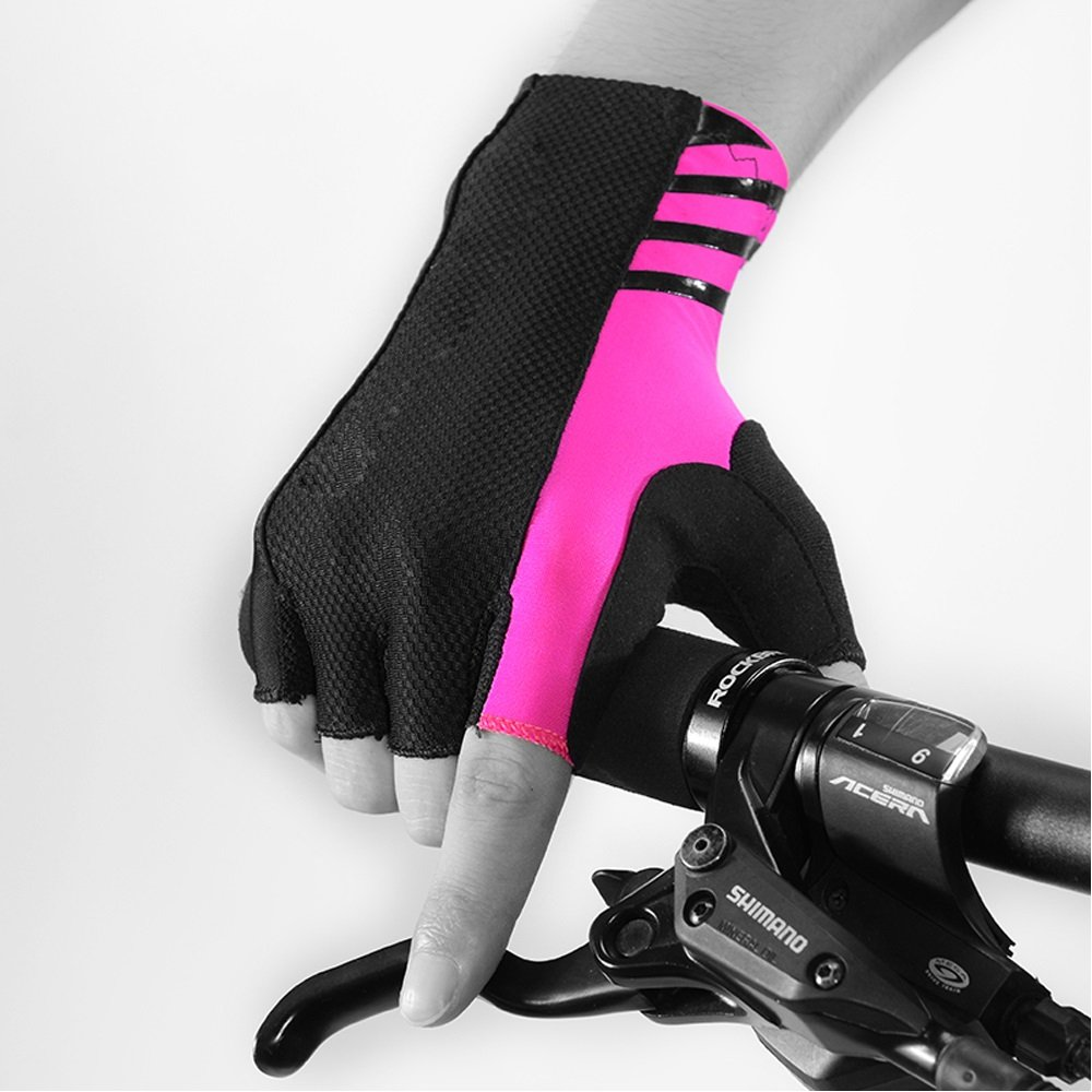 YZFGY Mountain Road Bike Bicycle Riding Gloves Half Finger Long Wrist Men and Women Summer Fitness Gloves Sport Gloves (Color : Pink, Size : S) by YZFGY