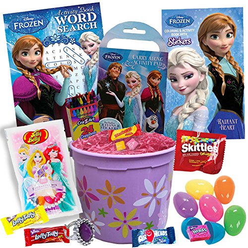 Frozen Easter Basket - Includes 20 Pieces - Frozen Basket with Easter Eggs Candy Elsa Coloring Book Anna Activity Book Frozen Olaf Word Search Crayons Disney Princess Jelly Beans and Pink Easter Grass