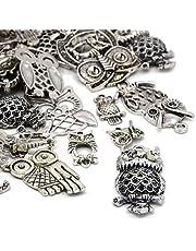 Paquet 30 Grams Argent Antique Tibétain Mélange Aléatoire Breloques Hiboux - (HA06695) - Charming Beads