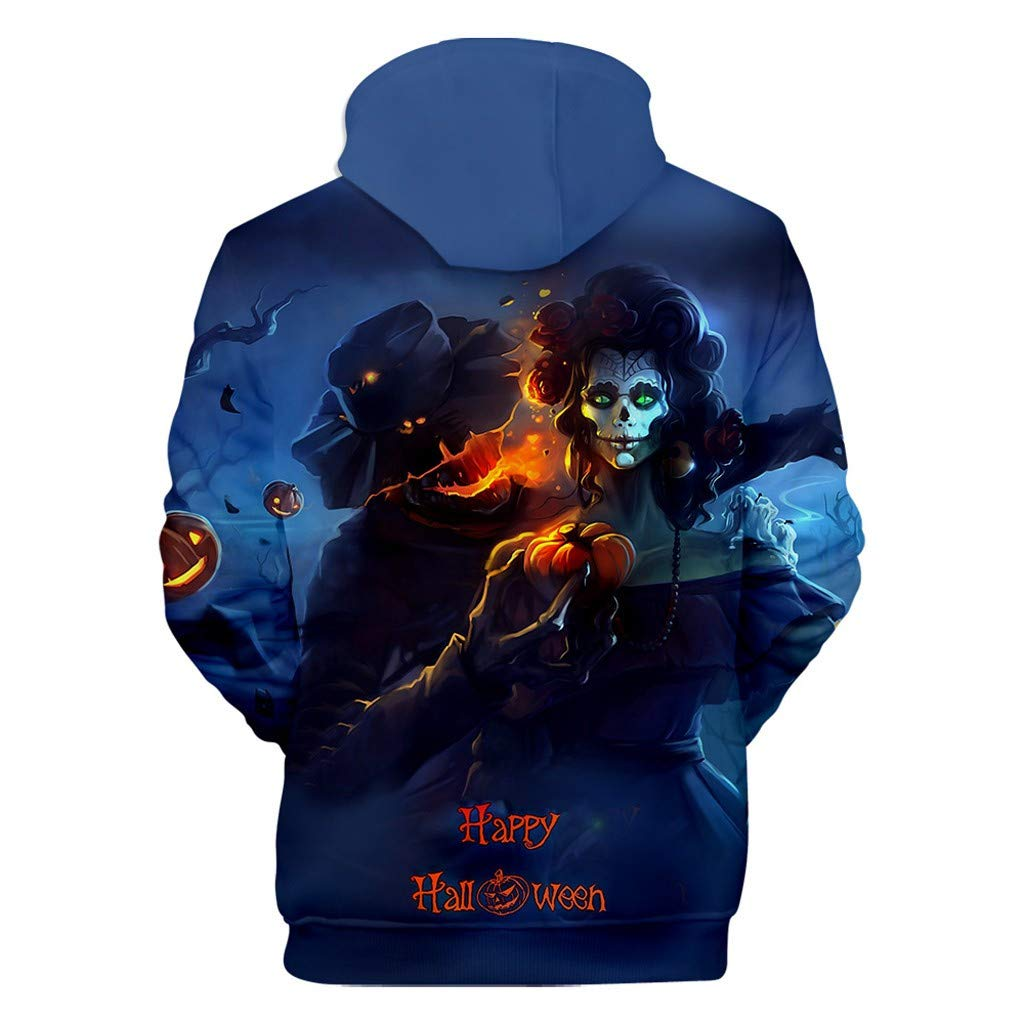 charmsamx Men's Sweatshirt Halloween Series Printed Hoodie Long Sleeve Hooded Sweatshirt Horror Pullover Sweatshirts (Blue, XXXXL) by charmsamx