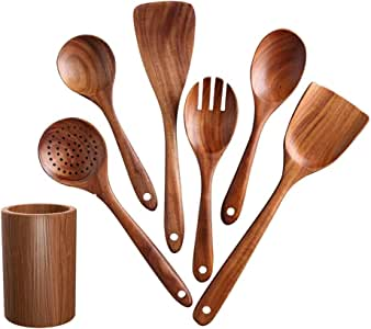 DCIGNA Wooden Cooking Utensils Set With Holder, Kitchen Utensil Set, Wooden Spoons For Cooking, Nonstick Hard Wood Spatula, Handmade by Natural Teak Wood (Set of 7)