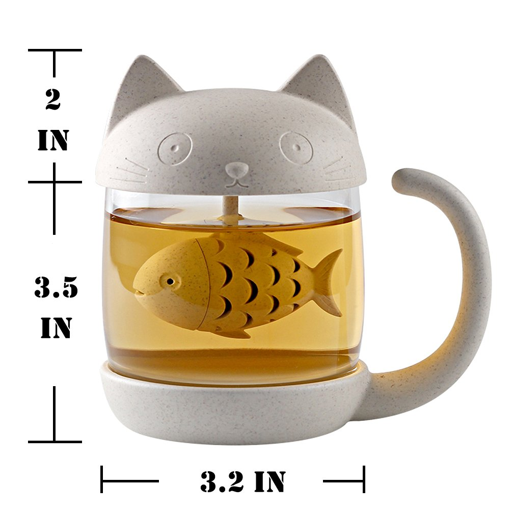 8.5oz Glass Teacup Cute Cat Tea Cup with Fish Filter Creative Cats Tail Coffee Mug Tea Lovely Cup Present for Children Child Christmas 7 Year Old Girl Gifts Classmates Homies Teacher Back to School