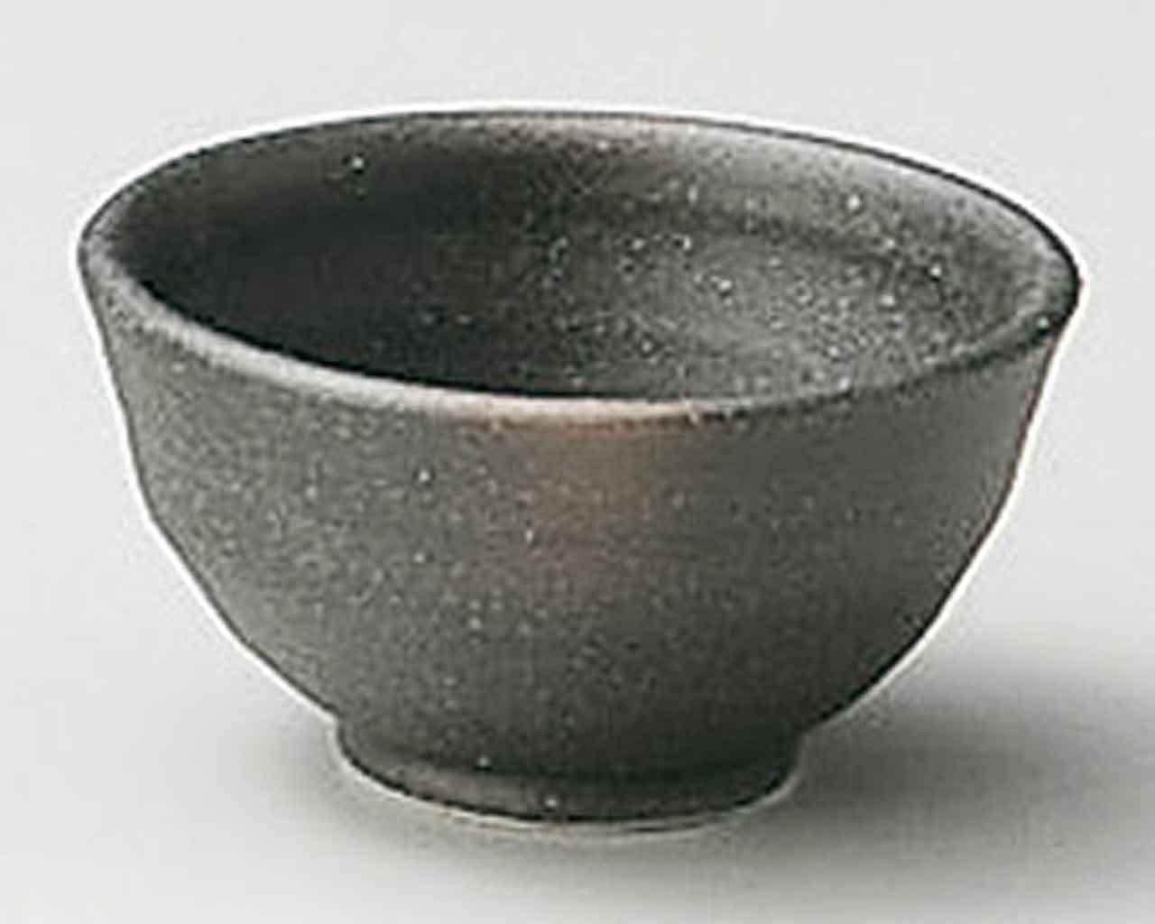 Bizen 2.4inch Set of 10 Sake Cups Black porcelain Made in Japan