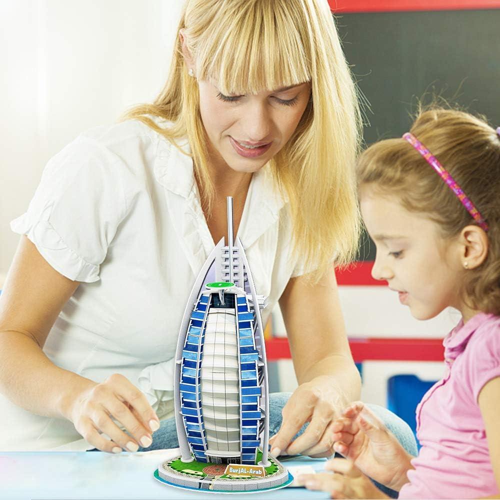 for Girls Decoration for Childrens Room 25 Piece World Famous Buildings-Dubai Burj Al Arab 3D Model Jigsaw Puzzle Festival Birthday Gifts for Children Toys for Family Games for Boys