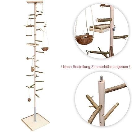 ATTRAKTION: Zimmerhoher Vogel-Kletterbaum mit vielen Naturholz-Sitzstangen, Vogel-spielzeug und Vogelschaukel   Vogelspielpla
