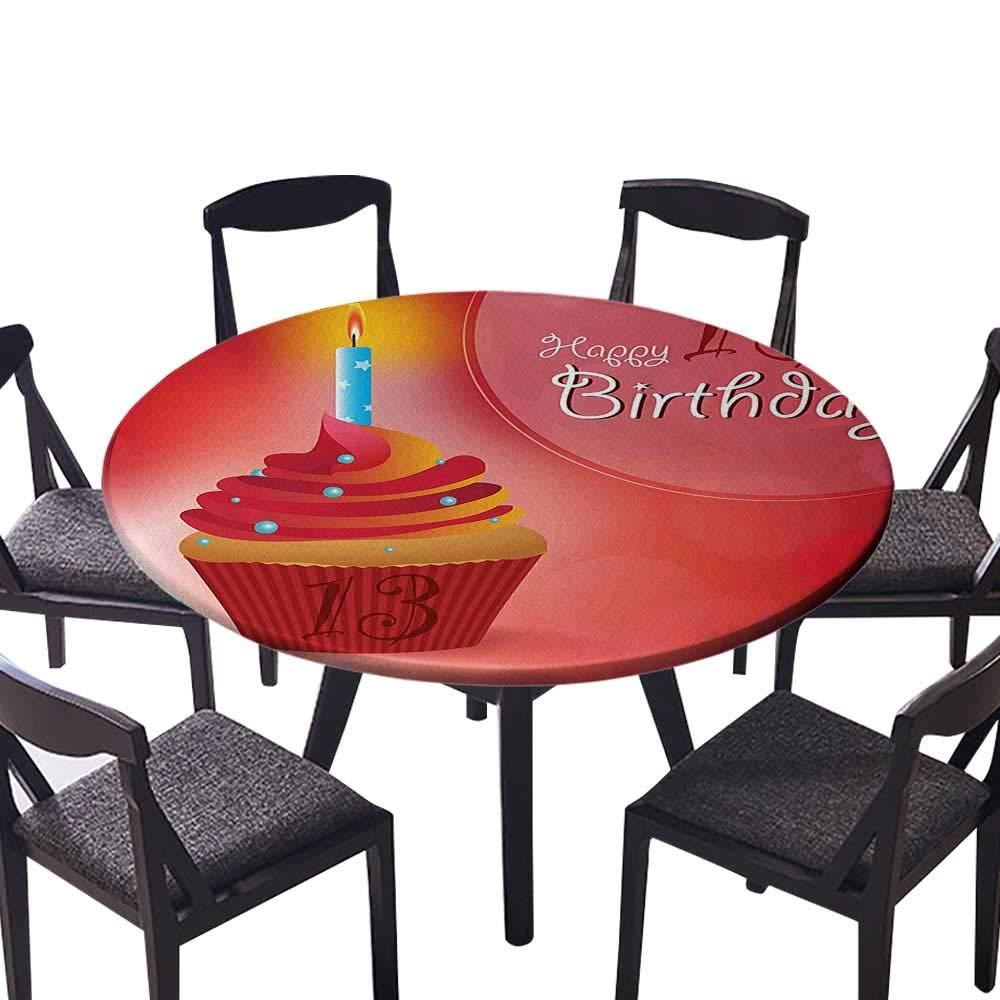 高級ラウンドテーブルクロス 家庭用 ダークブルーの背景と星に13個のポリゴンエンブレム ダークブルーライト ビュッフェテーブル ホリデーディナー用 (エッジはゴム) 35.5