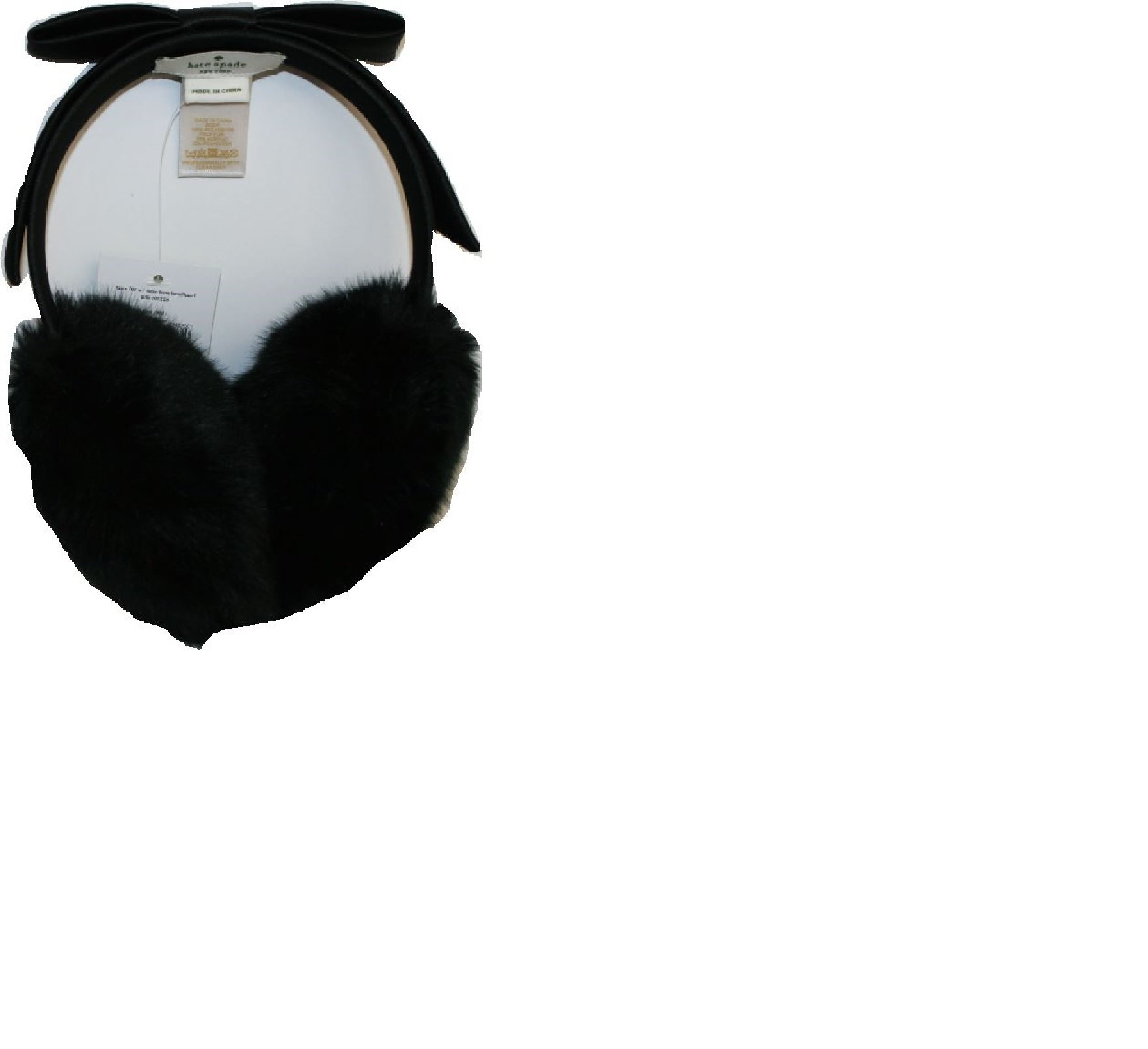 Kate Spade Black Faux Fur Earmuffs With Satin Bow Perfect Gift