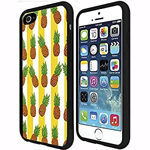 Yellow and White Stripes with Pineapple Rubber Snap on Phone Case (iPhone 6 Plus)