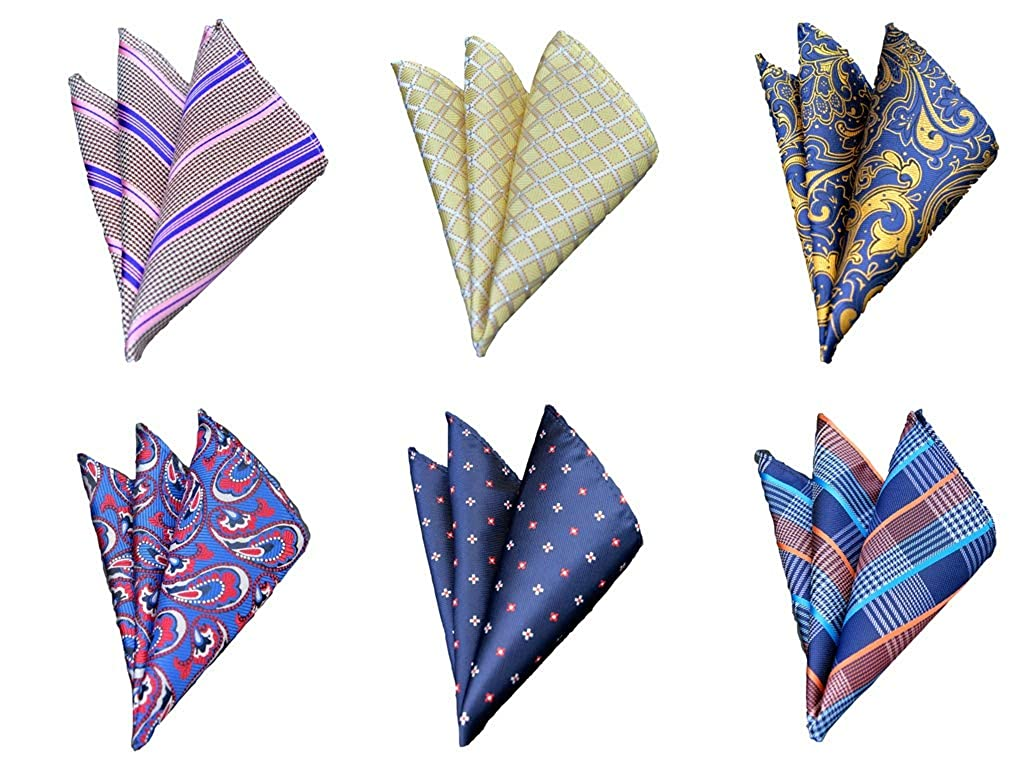 Men Suit Pocket Squares, 6-Pack, Assorted Colors Men' s Pocket Squares