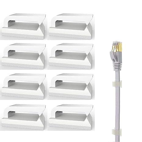 Clips Adhesivos Cables (Blanco-100 piezas) Clips de Cable Ethernet, 3m cable