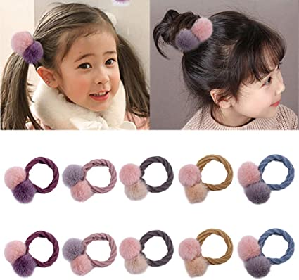 10 Pieces Cute Fur Ball Elastic Hair Ties Pompom Hair Band For Baby Girls Ponytail Holders Hair Accessories Mixed Color Amazon Co Uk Beauty
