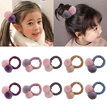 10 Pieces Lovely Cute Hair Ties Elastic Hair Bands Seamless Ponytail Holders Soft Rubber Bands For Kids Hair With Two Delicate Warmer Fluffy Balls For