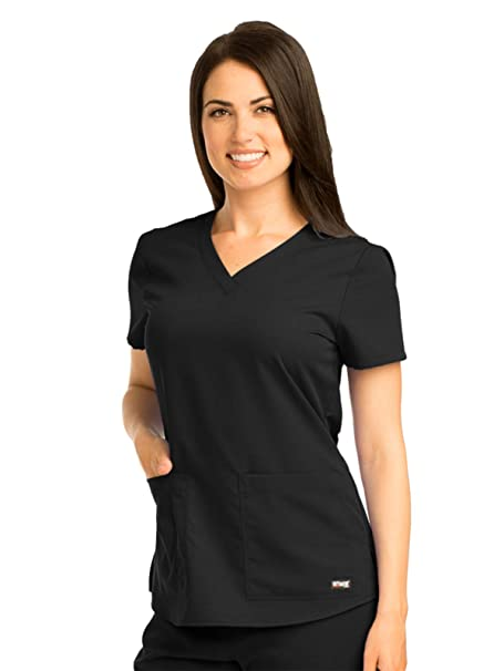 56aa981faf5 Grey's Anatomy Women's Two Pocket V-Neck Scrub Top with Shirring Back,  Black,