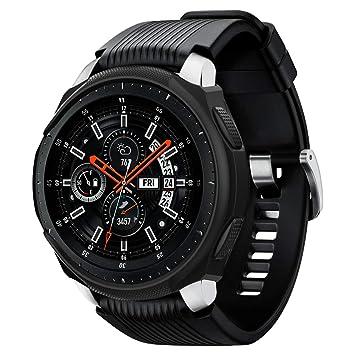 Spigen Galaxy Watch Funda, Liquid Air Armor diseñado para Samsung Galaxy Watch 46mm (2018) / Samsung Gear S3 Frontier (2017) Case - Negro