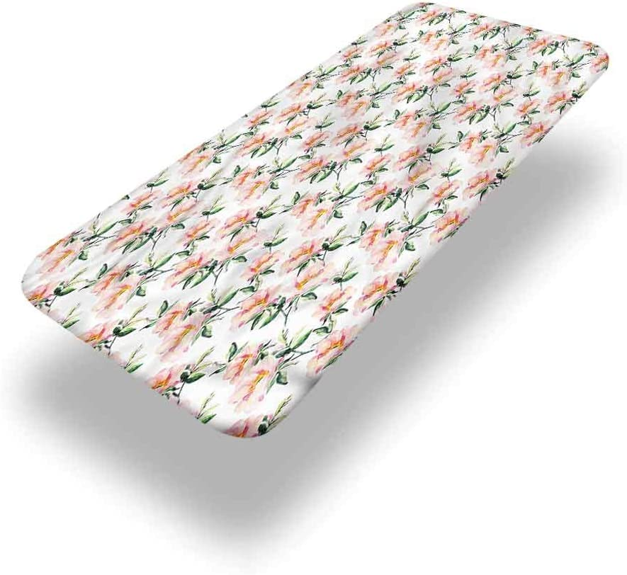 LCGGDB Dusty Rose Polyester Picnic Table Fitted Tablecloth Cover,Briar Flowers Watercolor Elastic Edged Picnic Table Covers,24in x 48in (4ft),for Christmas Parties