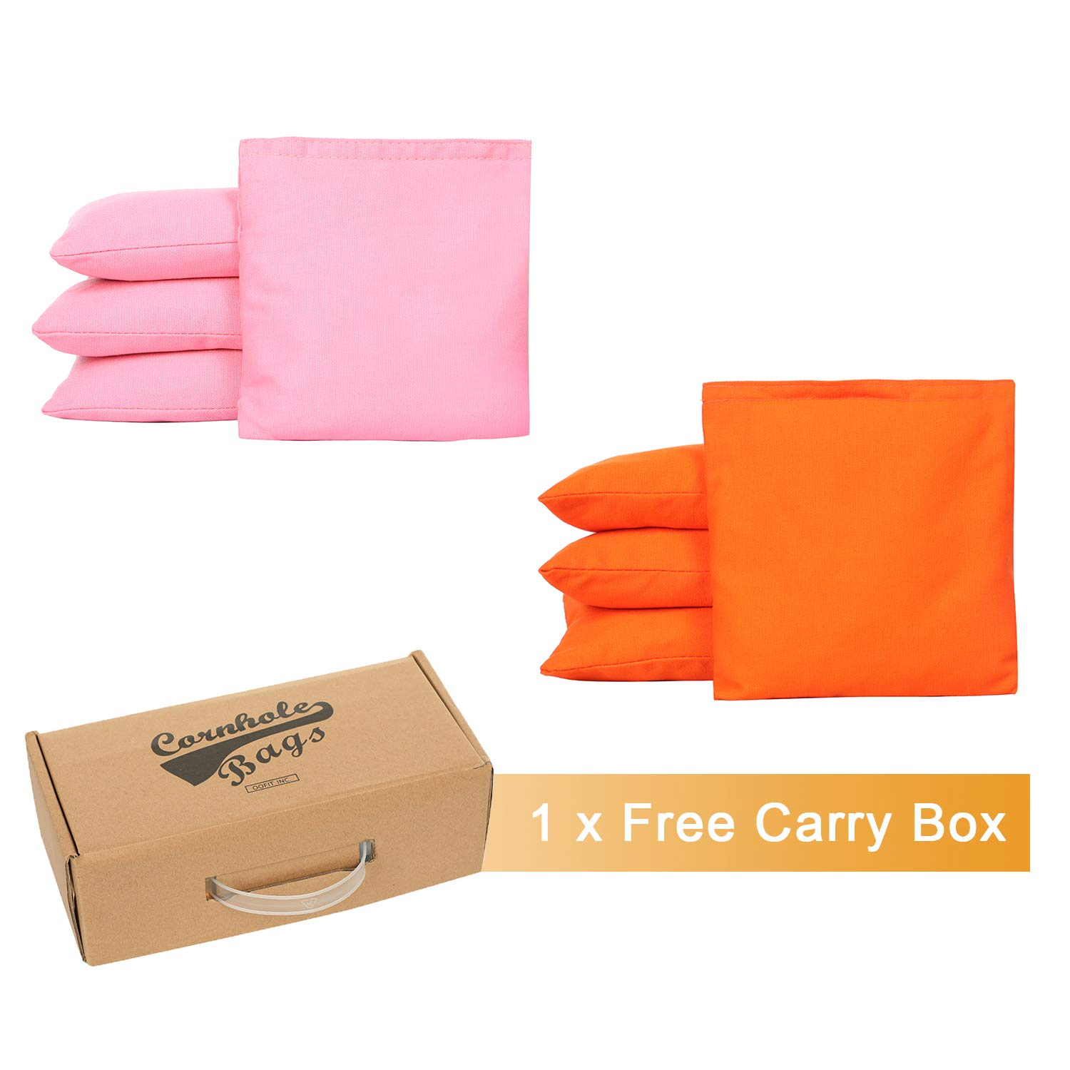 OOFIT Cornhole Bean Bags Set of 8 Weather Resistant for Tossing Corn Hole Game with Carrying Box (Pink, Orange)