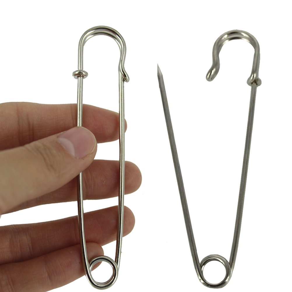 BESTCYC 10pcs 10.1cm x 22mm Silvery Extra Large Heavy Duty Safety Pins-Stainless Steel Safety Pins for Blankets, Skirts, Kilts, Knitted Fabric,Crafts 4337009997
