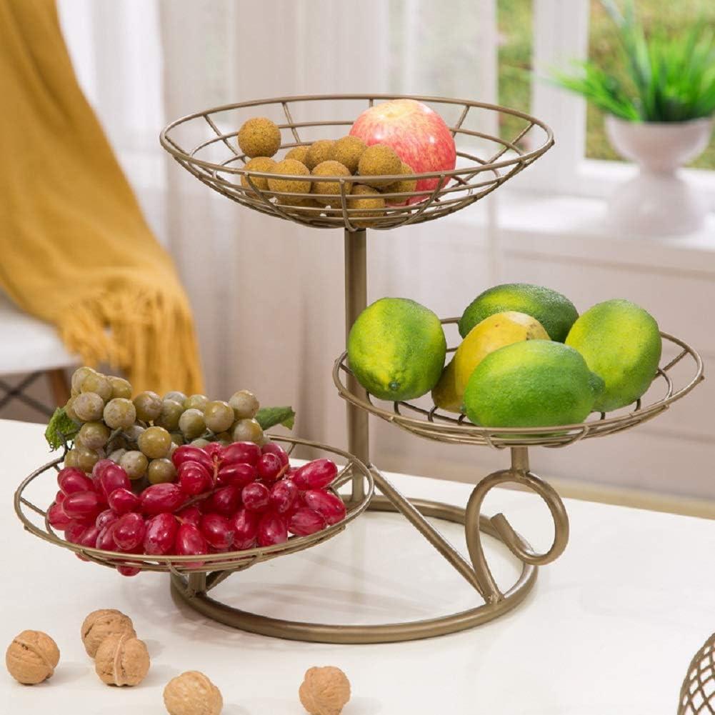 Fablcrew Obstkorb Metall Obstst/änder 3 Etagere Obstschale dekorativer Obstkorb Vintage Aufbewahrungsst/änder f/ür Obstkuchen Snacks