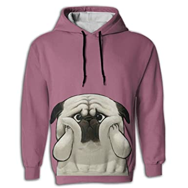 Qinf Lovely Dog Covers Face Adult Hooded Sweatshirt Full 3D Graphic Printed  2 Pockets Hoodies for bec5e6b43ca