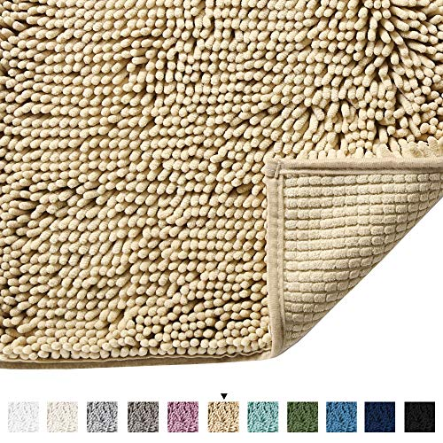 Bath Mat Super Soft Bath Rug for Bathrooms Microfiber Chenille Plush Rugs for Powder Room Indoor Rugs for Entryway, 17 x 24 Inches, Beige (Powder Room Rugs)