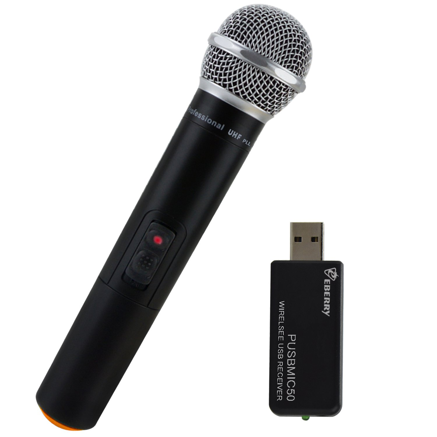 eBerry Ultra High Frequency UHF 2.4GHz USB Wireless Handheld Microphone System for Karaoke, Conference Speech, Song Recording, Online Broadcast, Video Chat, Language Training (Frequency: 925.1MHz)
