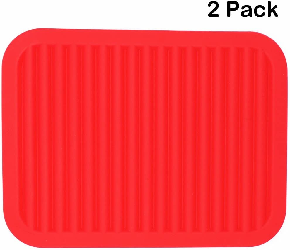 Smithcraft Silicone Trivet for Hot Dish and Pot Hot Pads Counter Mat Heat Resistant Table Dish Drying Mat or Placemats 2 Pack,Size:9x12 Inch, Color: Red, Shape:Rectangular