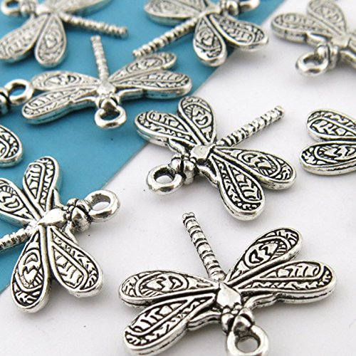 BULK 20 Antique Silver Dragonfly Charms 20 x 21mm (NS683)