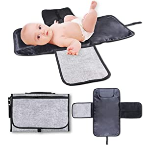 Baby Portable Changing Pad,Diaper Change Mat with Head Cushion and Pockets,Travel Changing Mat Station, Travel Home Change Mat Organizer Bag for Toddlers Infants and Newborns. (Gray)