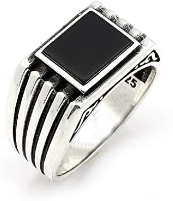 turkish jewelry 925 Sterling Silver Eagle black onyx Mens Mans ring ALL SİZE us