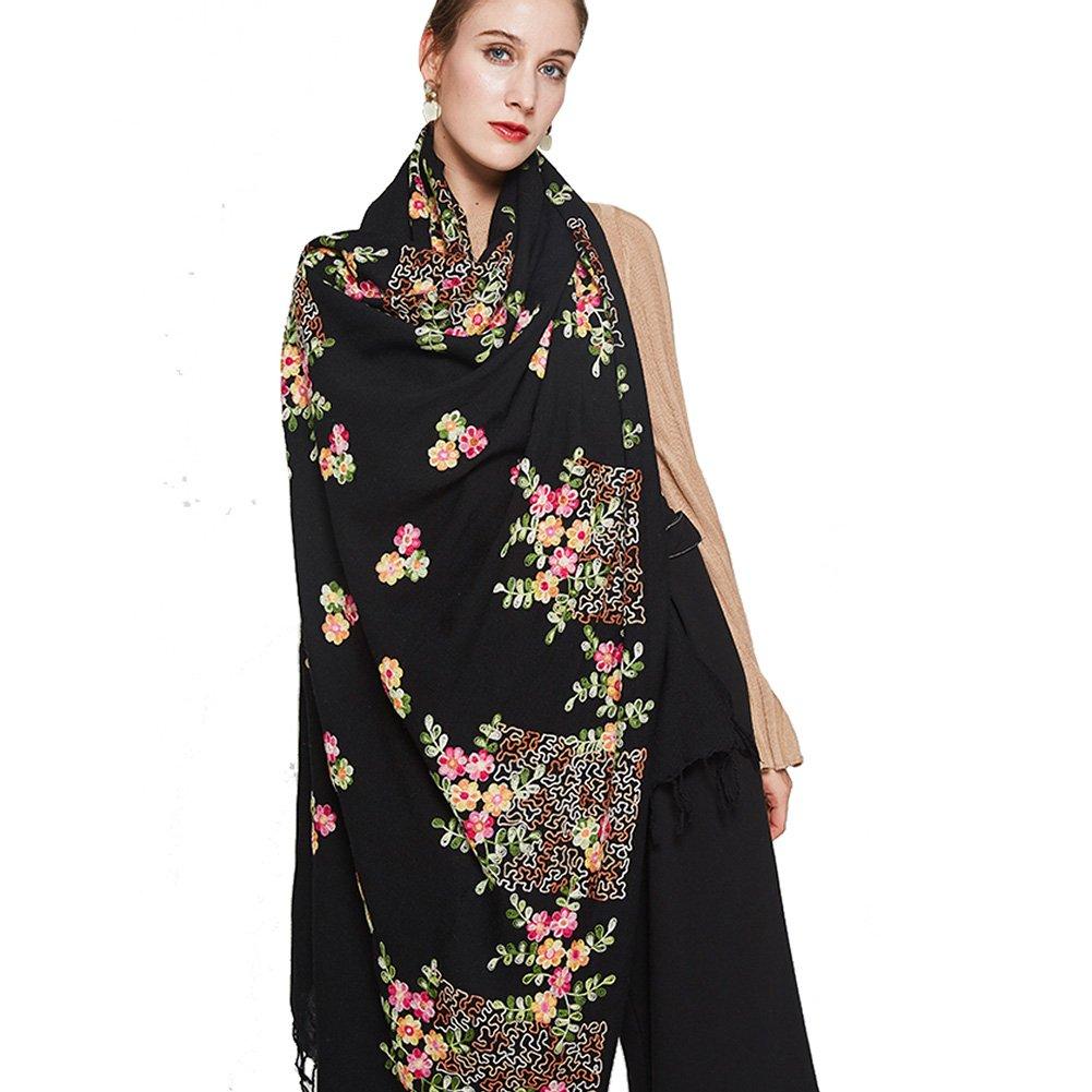 DANA XU Embroidery 100% Pure Wool Pashmina Shawls and Wraps (Black)