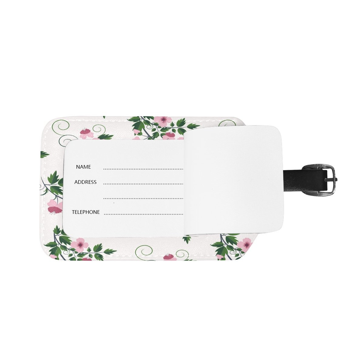 Saobao Travel Luggage Tag Vector Retro Floral Pattern With Flowers PU Leather Baggage Suitcase Travel ID Bag Tag 1Pcs