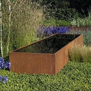 300 150cm corten steel pond water feature garden patio for Garden pond amazon