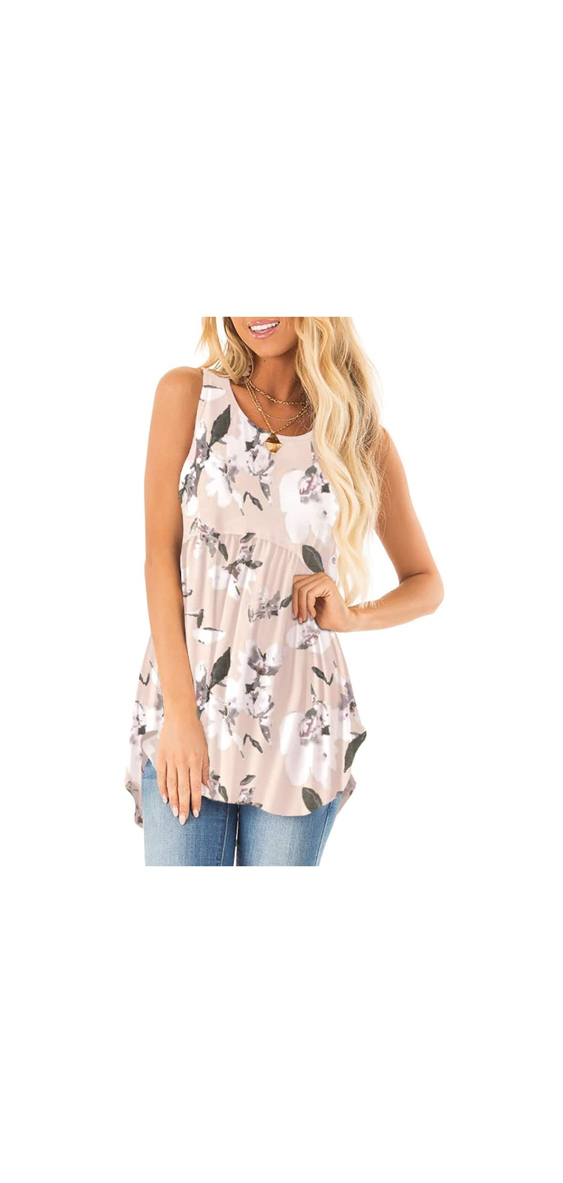 Women Summer Pleated Tank Tops Floral Printed Shirts