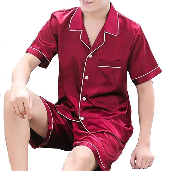 Men's Casual Silk Sleep Pajama Sets Short Sleeve Satin Pajama Set With Shorts by Hienaj