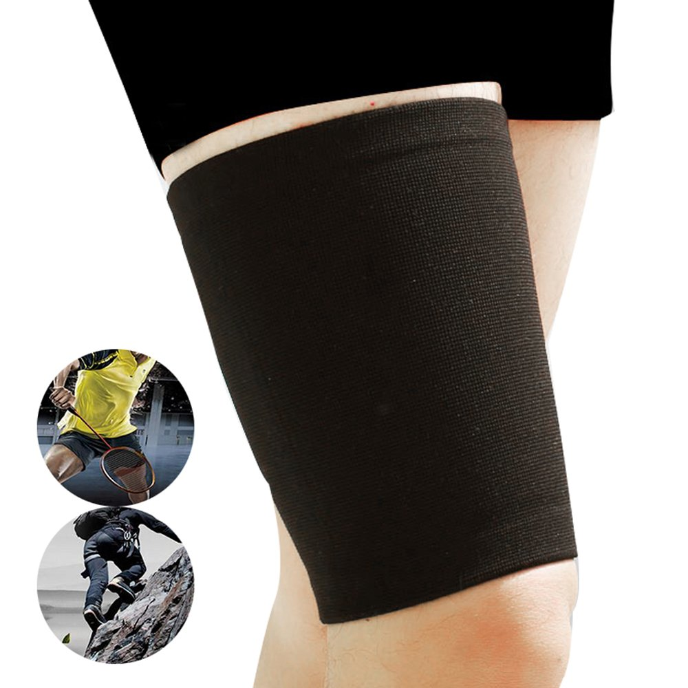 Genmine Thigh Wrap Hamstring Brace Support Compression Sleeve for Pulled Hamstring Strain Injury Tendonitis Rehab and Recovery, Fits Men and Women, Black