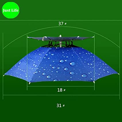 Amazon.com : Ecity Lightweight Portable Hand Free Fishing Headwear Sun and Rain Umbrella Hat Cap (Blue) : Sports & Outdoors