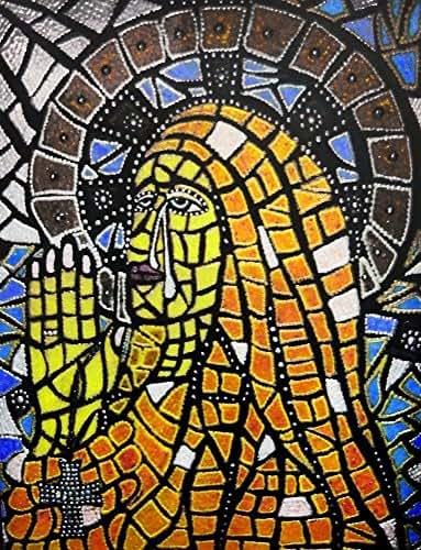 St. Monica of Hippo Original Mixed Media Framed Mosaic Painting Catholic Art Michelle Astuto Collins
