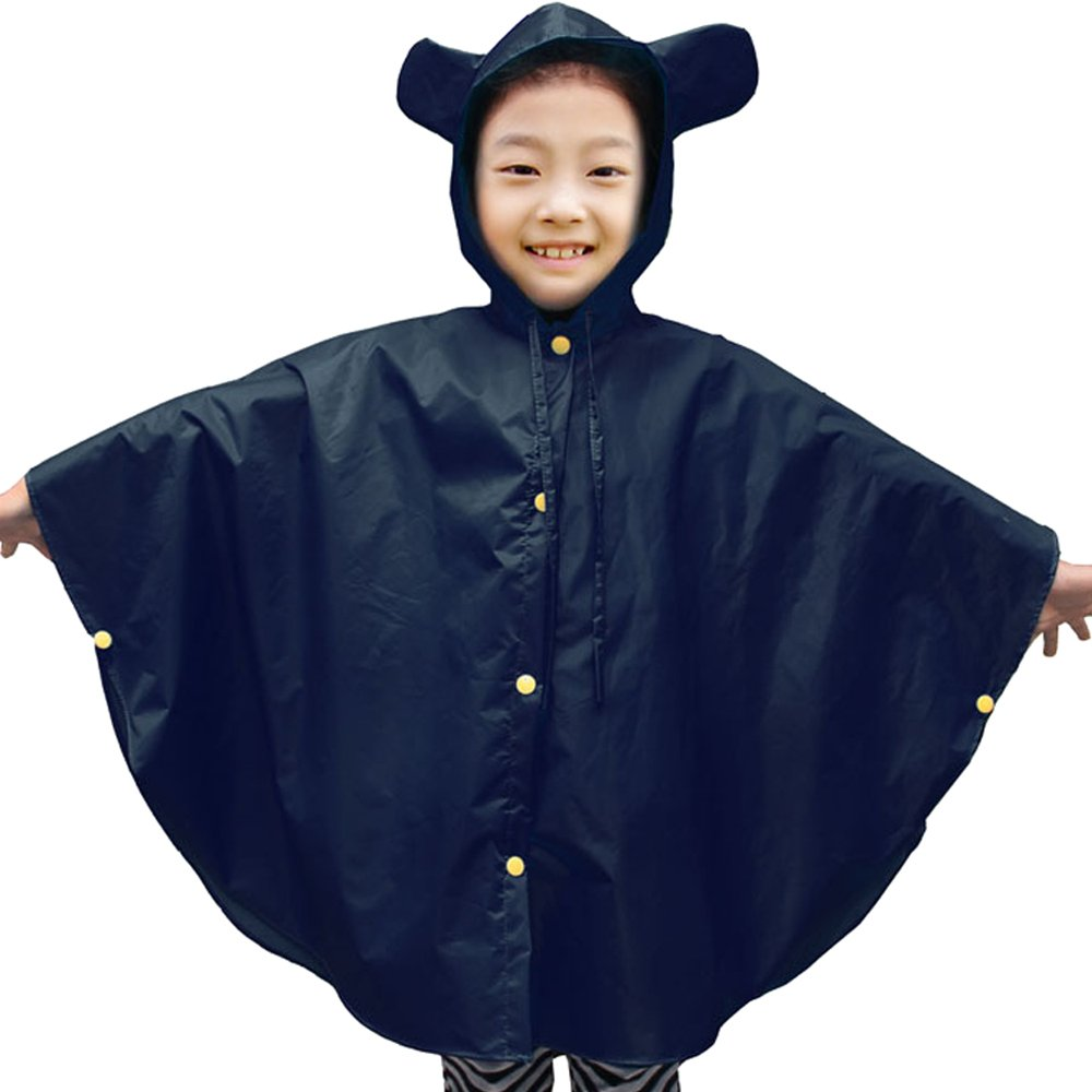 ZEVONDA Kids Hooded Poncho Waterproof Raincoat Easy Carry Boys Girls Rainwear