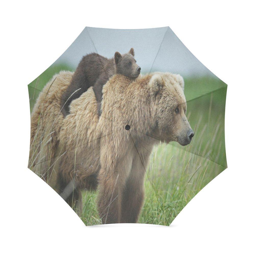 カスタムかわいいブラウンBear Cubsコンパクト旅行防風防雨折りたたみ式傘 B075W35MVJ